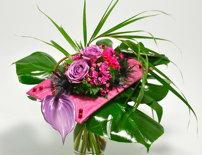 fleuriste-montpellier-juvignac-Anthurium, roses et bouvardia
