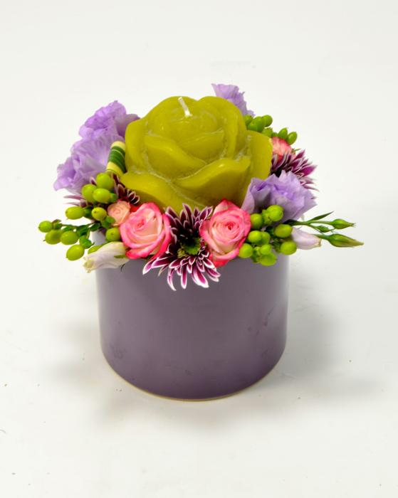 fleuriste-montpellier-juvignac-lysianthus parme roses et hypericum
