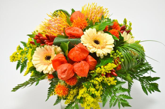 fleuriste-montpellier-juvignac-nutens physalis mini gerbera solidago carthamus