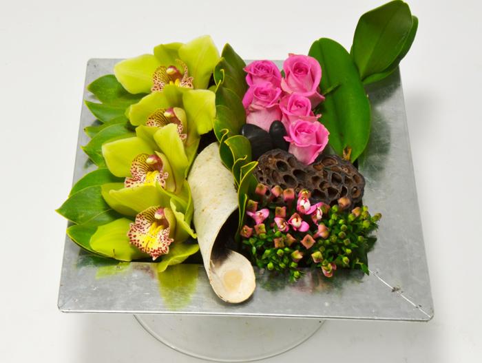 fleuriste-montpellier-juvignac-orchidees roses et bouvardia