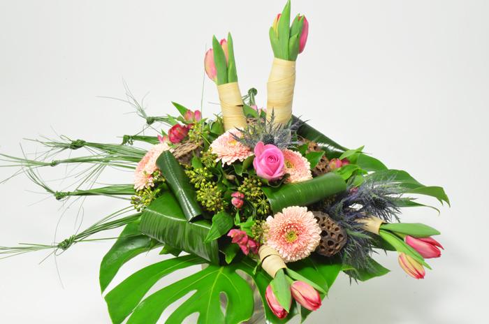 fleuriste-montpellier-juvignac-tulipes chardon des alpes et mini gerbera