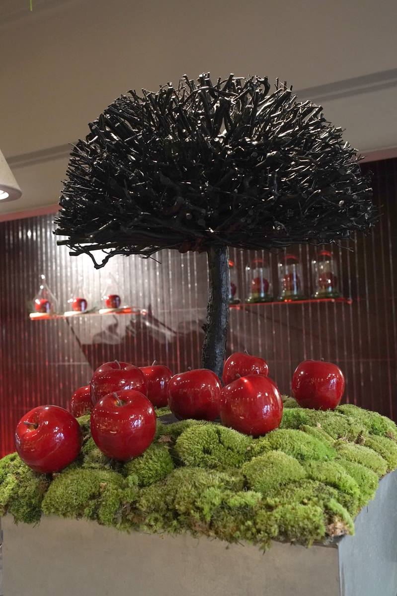 vitrine-automne-pommes-rouges-decoration-montpellier-symphonie-florale